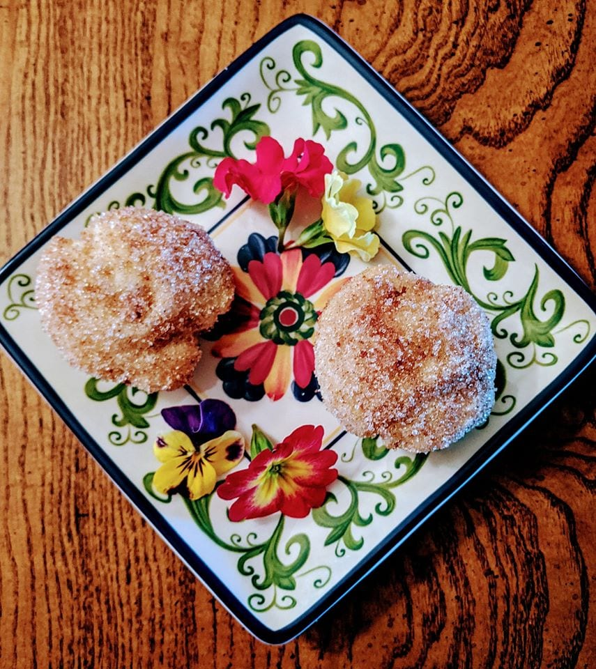 A decorative plate with snickerdoodle cakes!