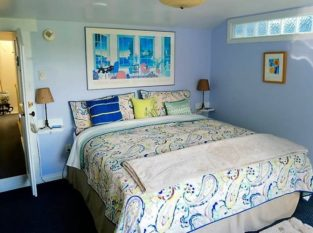 Hideaway Suite with blue and white accents