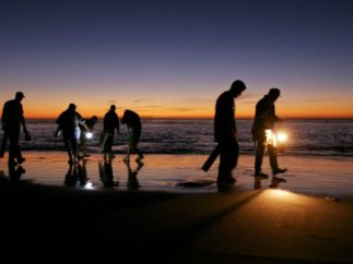 people walking along beach at sunset with flashlights