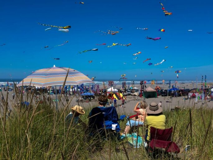 kite festival and people watching many colored kites flying