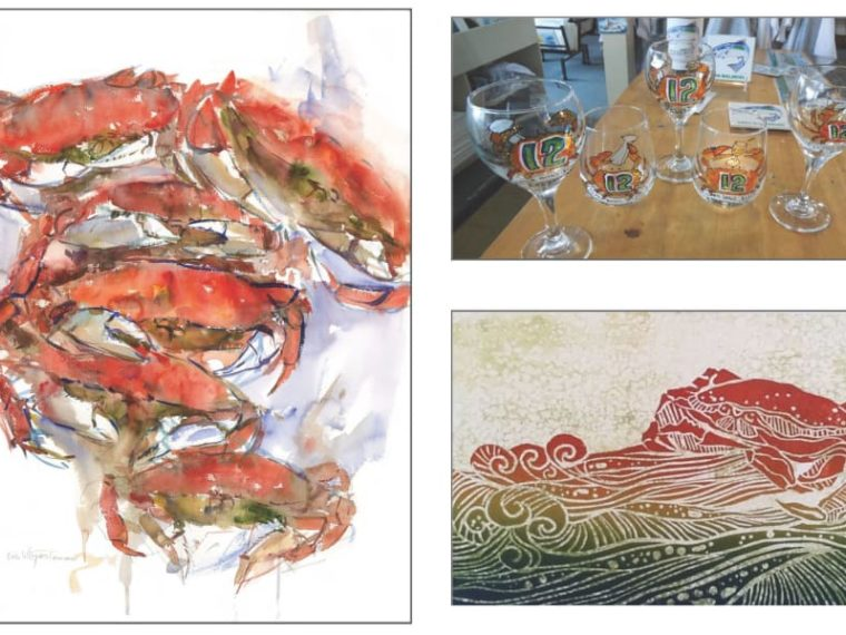 crab paintings and painted glasses