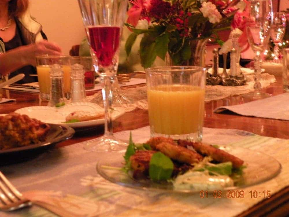 plate of food with juice
